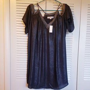 NWT Loft Brand Black Sparkle Fabric Cut Out Dress